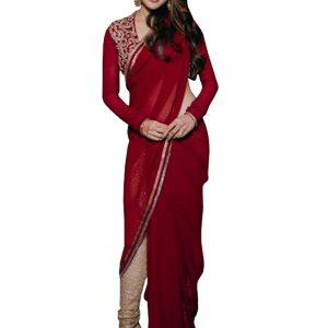 Sara Ali Khan Georgette Red Replica Saree