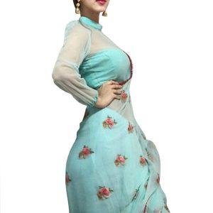 Sonarika Bhadoria Sky Blue Nylon Net Replica Saree