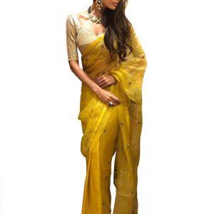 Malaika Arora Silk Yellow Replica Saree