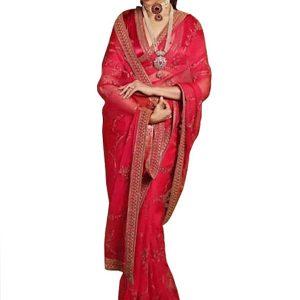 Deepika Padukone Georgette Red Bollywood Replica Saree
