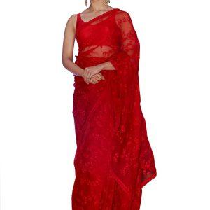 Alia Bhatt Nylon Net Red Replica Saree