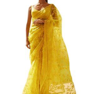 Latest Nylon Net Yellow Replica Saree