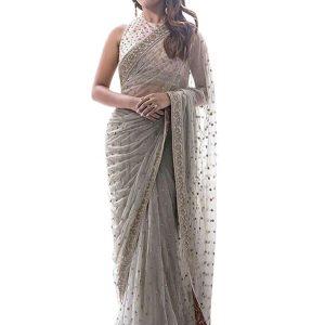 Anu emmanuel Mono Net Gray Bollywood Replica Saree
