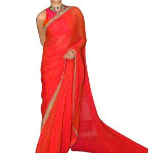 Jhanvi Kapoor Georgette Red Replica Saree