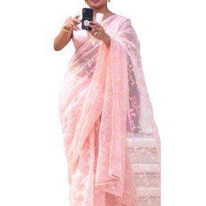 Priyanka Chopra Nylon Net Light Pink Replica Saree
