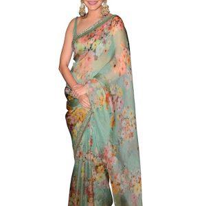 Anushka Sharma Silk Rama Green Digital Printed Replica Saree