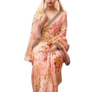 Latest Silk Light Pink Digital Printed Replica Saree