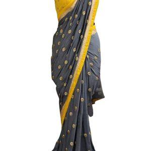 Latest Georgette Silk Gray & Yellow Replica Saree