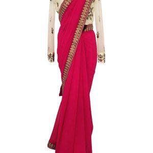 Latest Pink Georgette With Silk Replica Saree