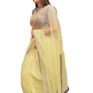 Latest Tissue Light Cream Bollywood Replica Saree