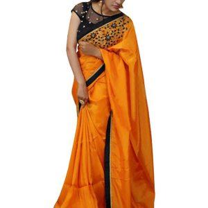 Latest Paper Silk Orange Bollywood Replica Saree