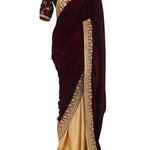 Latest Velvet With Silk Maroon & Cream Replica Saree