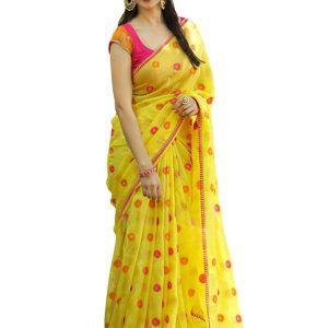 Latest Georgette Yellow Replica Saree