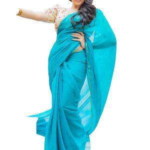 New Arrival Georgette Sky Blue Bollywood Replica Saree
