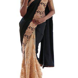 Latest Georgette With Nylon Net Black & Cream Replica Saree