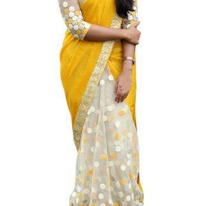 New Arrival Georgette With Nylon Net Off White & Yellow Replica Saree