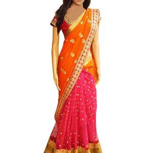 Latest Orange & Pink Georgette Replica Saree
