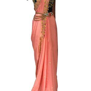 New Arrival Chanderi Silk Peach Heavy Replica Saree