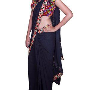 Latest Georgette Black Bollywood Replica Saree