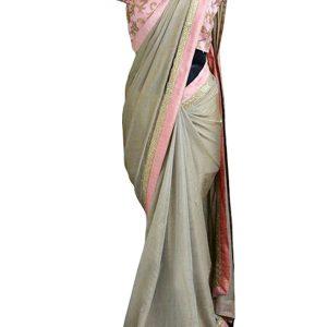 New Arrival Chanderi Silk Gray & Peach Replica Saree