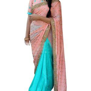 Latest Georgette Peach & Blue Bollywood Replica Saree