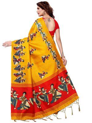 Kathak Yellow Khadi Silk Printed Kalamkaari Sarees With Blouse