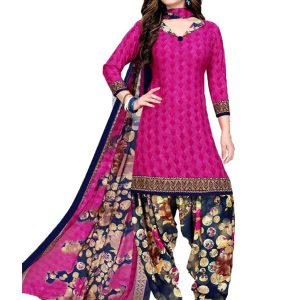 French Crepe Printed Dress Material With Shiffon Dupatta Suit-1157