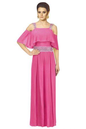 Pink Georgette Party Wear Pearls Work Jumpsuit