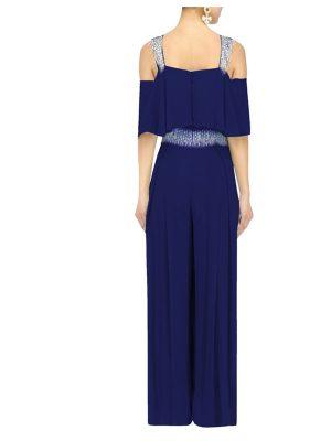 Blue Georgette Party Wear Pearls Work Jumpsuit