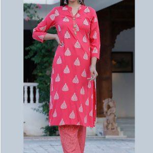 New Launch Red Beautiful Heavy Reyon Dobby Fabric Kurti With Plazo