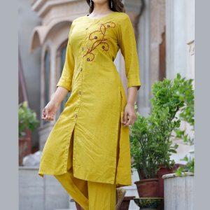 Stylesh Yellow Rayon Slub Kurti