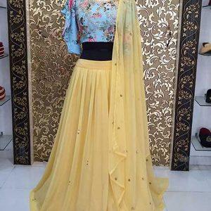 Buy online Yellow Colored Georgette Lehenga