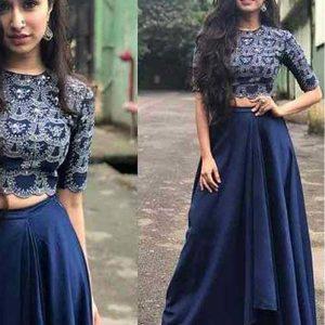 New Shraddha Kapoor In Blue Colored Tapeta Silk Lehenga