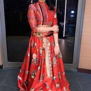 Buy online Priya Atlee In Multi Colored Tapeta Silk Lehenga