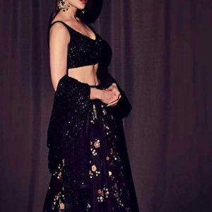 New Arrivals Sara Ali Khan In Black Colored Beautiful Embroidered Georgette Lehenga Choli
