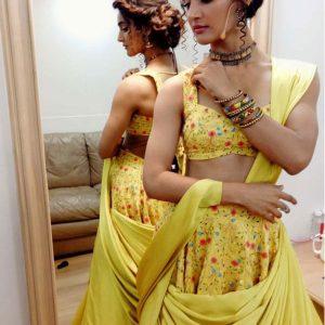 Letest Yellow Banglori Satin Bollywood Lehenga Choli