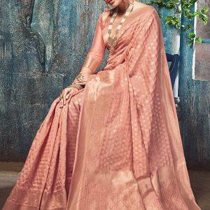 Peach Art Silk Party Wear Saree