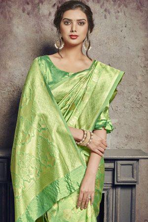 Light Green Art Silk Party Wear Saree