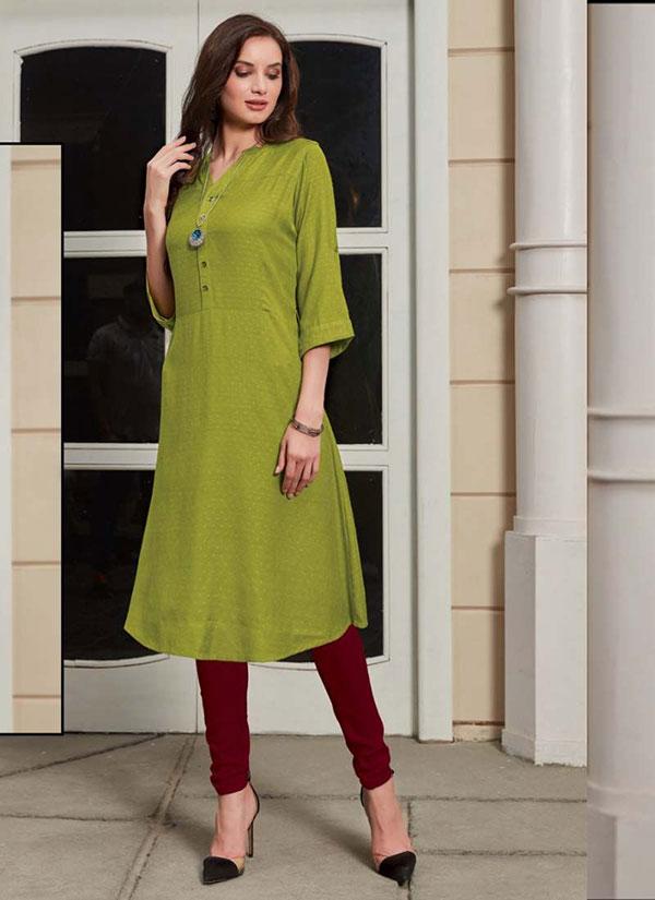 Parrot Green Rayon Woven Silk Kurtis