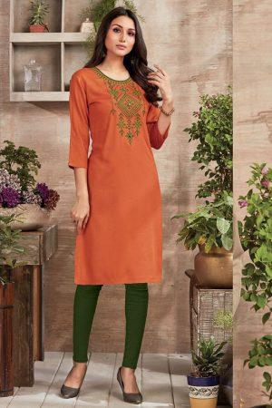 Orange Rayon Embroidered Long Kurtis