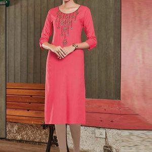 Dark Pink Rayon Embroidered Long Kurtis