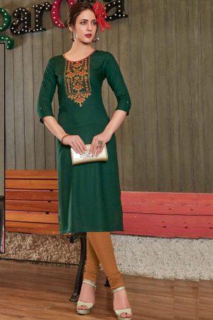 Dark Green Rayon Embroidered Long Kurtis