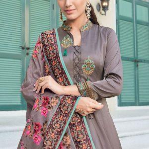 Dark Grey Silk Blend Anarkali Salwar Kameez