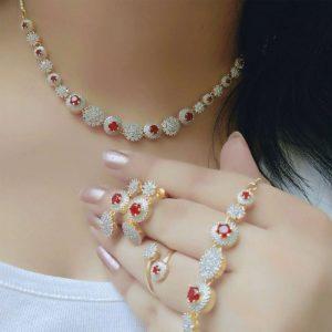 Amercan Diamond Combo of Necklace , Ring & Bracelet