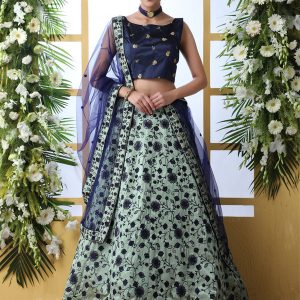 Mint Green Designer Art Silk Thread With Sequence Embroidered Work Guldasta Lehenga Choli