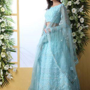 Sky Blue Bridal Thread Embroidered With Stone Pasting Wedding & Party Wear Lehenga Choli