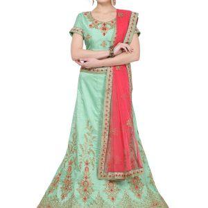 Peach Colour Satin Silk Zari Embroidery & Diamond Work Lehenga Choli