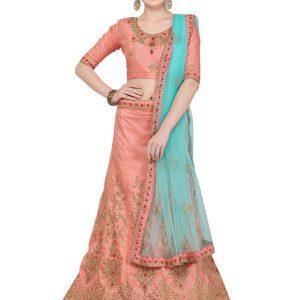 Pink Colour Satin Silk Zari Embroidery & Diamond Work Lehenga Choli