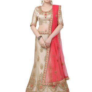 Beige Colour Satin Silk Zari Embroidery & Diamond Work Lehenga Choli
