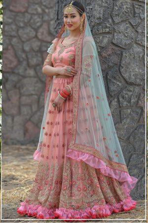 Dark Peach Colour Net Resham & Zari Work Lehenga Choli